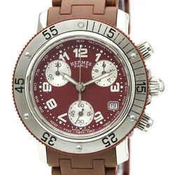 Polished HERMES Clipper Diver Chronograph Quartz Ladies Watch CL2.318 BF532719