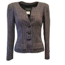 Chanel Navy / Pink / Silver Tweed Blazer