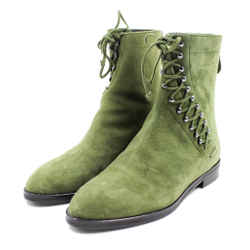 Alaia Size 38/8 Green Suede Lace-Up Ankle Boots