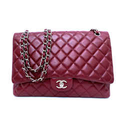 Chanel Jumbo Burgundy Caviar Single Flap Bag, Silver Hardware