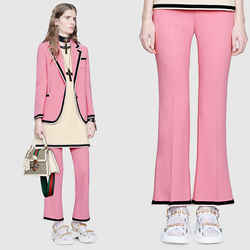 40 NEW $980 GUCCI Pretty PINK Viscose Crepe Mid-High Rise Bootcut CROPPED PANTS