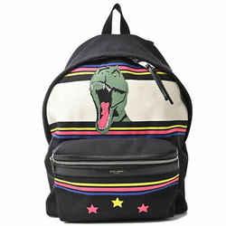 Auth Yves Saint Laurent Canvas Backpack Multi Black