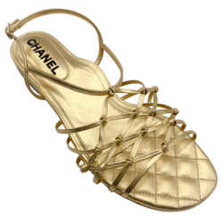 Chanel Gold Lambskin Leather Sandals