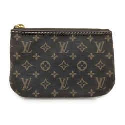 Louis Vuitton Brown Monogram Mini Lin Key Pouch Pochette Cles Keychain l863422