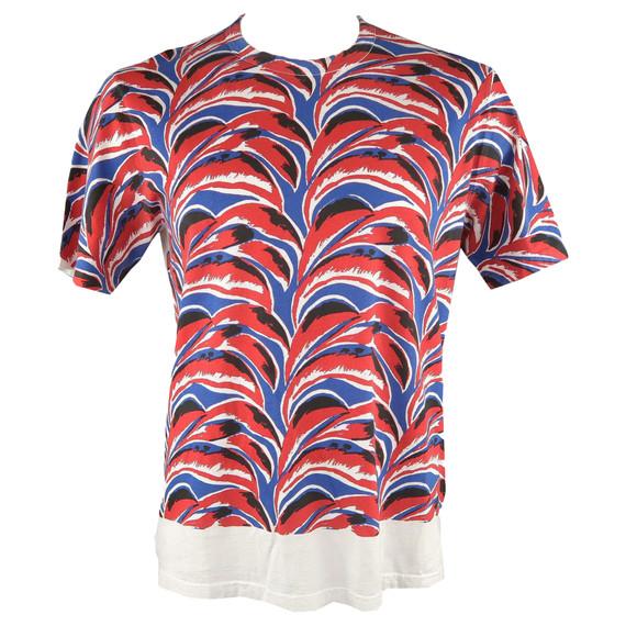 Marni Size L Red & Blue Print Cotton T-shirt