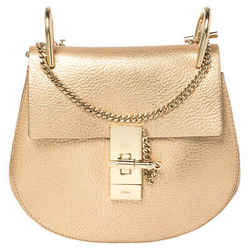 Chloe Metallic Rose Gold Leather Small Drew Shoulder Bag