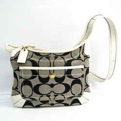 Coach Signature Ergo 10768 Women's Leather,Canvas Shoulder Bag Black,Gr BF519879