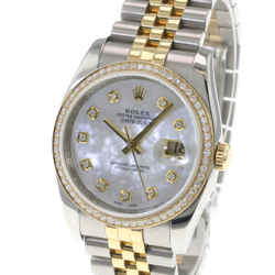 Rolex Datejust Watch Two-tone White Mother Of Pearl Diamond Bezel 116233 36mm