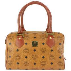 MCM Cognac Monogram Visetos Boston Bag 915mcm68