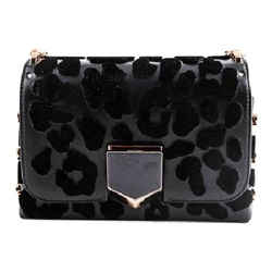 Jimmy Choo Black Spazzolato With Embroidered Velvet Leopard Print Shoulder Bag
