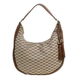 Michael Kors Beige/Tan Coated Canvas and Leather Lauryn Hobo