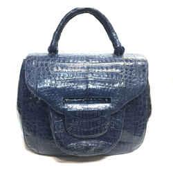 NANCY GONZALEZ Lavender-Blue Croc-Skin Large Handbag Satchel