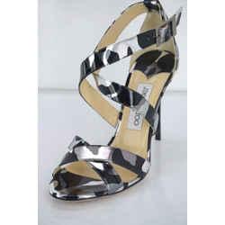 Jimmy Choo Camouflage Metallic Black Lottie Ankle Strap Sandal Sz 38 New $850