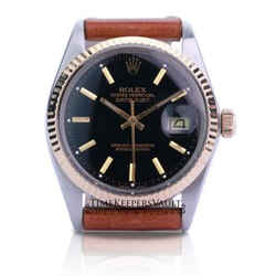 Rolex Mens Datejust Black Dial Fluted Bezel 36mm Leather Band Watch
