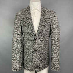 CALVIN KLEIN COLLECTION Size 38 Black & White Tweed Notch Lapel Sport Coat