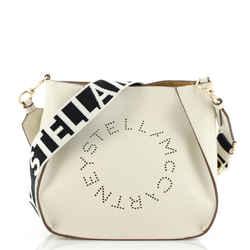Logo Crossbody Bag Perforated Faux Leather Mini