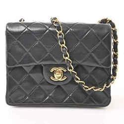 Auth Chanel Chanel Lambskin Mini Matrasse Chain Shoulder Bag Black