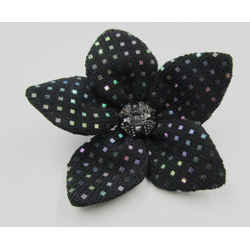 New St. John Knits Vintage Pin Brooch Pliable Flower Paillettes Black Santana
