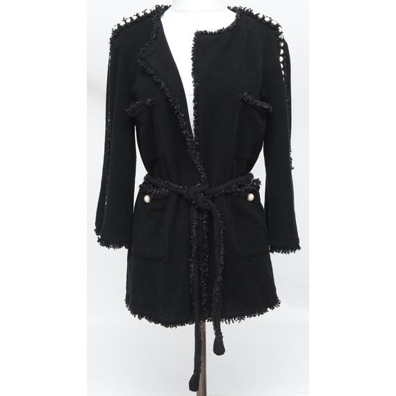 CHANEL Black Jacket Cardigan Sweater Pearls Belt Fringe Tweed 2014 Sz 38