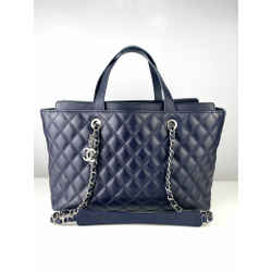 Chanel Navy Blue Leather Coco Handle Medium Shopping Tote