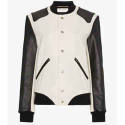 SZ 36 NEW $3,870 SAINT LAURENT Woman's HEAVEN LEATHER SLEEVE Bomber TEDDY JACKET