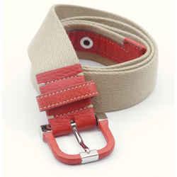 TOD'S Belt Canvas Leather Orange Silver HW Belt Khaki Beige Stitching