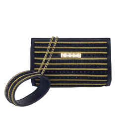 Alberta Ferretti Crystal Cuff Black and Gold Clutch