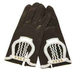 HERMES Black Leather Gloves with White Accents and Braiding Size 6 1/2