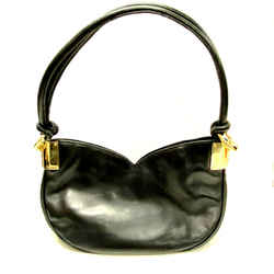 Genuine Escada Bag Charm Shoulder Black Leather Sweetheart Bag Hobo Handbag