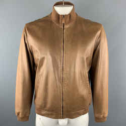 Ralph Lauren L Tan  Leather Zip Up Slit Pockets Bomber Style Jacket