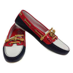 Tod's Navy Red White and Driving Flats Size: EU 38.5 (Approx. US 8.5) Regular (M, B) Item #: 21350883