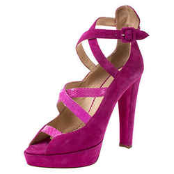 Charlotte Olympia Pink Caged Suede and Snakeskin Trim Gladys Platform Sandals...