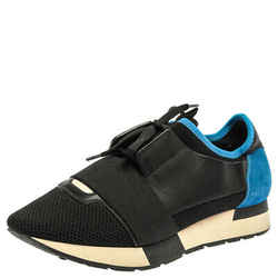 Balenciaga Black/Blue Suede Leather And Mesh Race Runner Low Top Sneakers Size