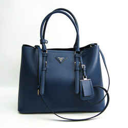 Prada Saffiano BN2820 Men,Women Leather Shoulder Bag,Tote Bag Dark Blue BF514494