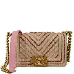 Small Boy Chevron Cotton Mixed Fibers Shoulder Bag Pink