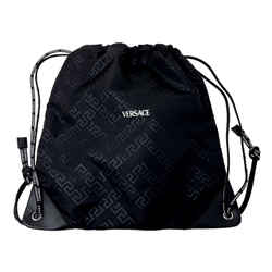 New Versace Unisex Black Nylon Drawstring Backpack Rucksack