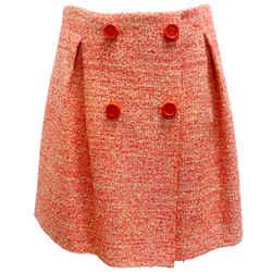PAULE KA Pink and Yellow Tweed Button Skirt