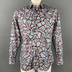 SALVATORE FERRAGAMO Size L Blue & Burgundy Giraffe Print Cotton Long Sleeve Shirt