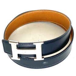 Hermes Brushed Silver Matte 32mm Reversible H Logo Belt Kit Black 68her0
