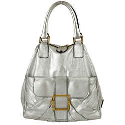 "Valentino Garavani Leather Medium 14'' Silver Tote Bag 13""l X 14""h X 6""w"
