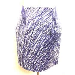 Ungaro White/purple Scribble-print Cotton-blend Skirt