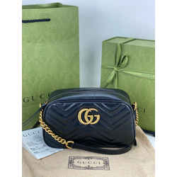 Gucci GG Marmont Small Black Matelasse Leather Shoulder Crossbody Bag B277 New
