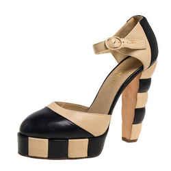 Chanel Black/Beige Leather D'orsay Platform Pumps Size 39.5