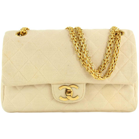 Chanel Beige Cream Jersey Quilted Small Double Flap Gold Chain Bag  862150