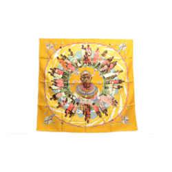 Authentic Hermes 100% Silk Scarf Pearles du Kenya Mustard Rybal Vintage 90cm Carre