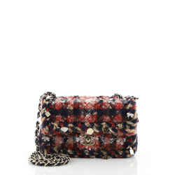 Charms Classic Single Flap Bag Braided Quilted Tweed Mini