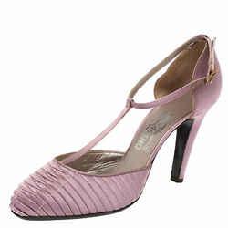 Salvatore Ferragamo Purple Pleated Satin T Strap Sandals Size 39.5
