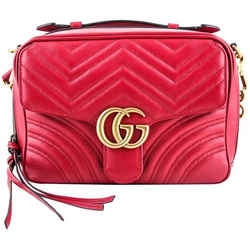 Gucci Gg Marmont Shoulder Bag Hibiscus Red One Size Authenticity Guaranteed