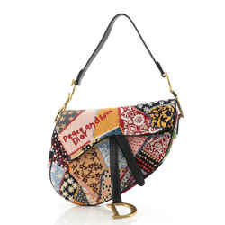 Peace and Love Saddle Bag Embroidered and Beaded Leather Medium