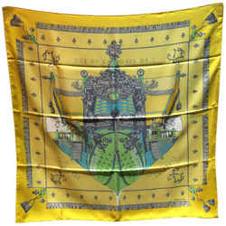 Hermes Yellow Vue De Carrosse De La Galere La Reale Silk Scarf